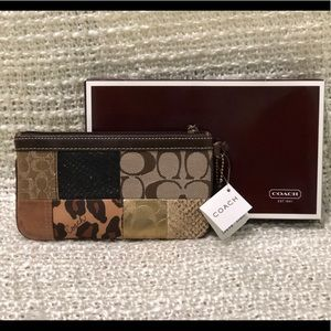 Coach Brown Gallery Patchwork Wristlet NWT
